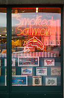Smoked Salmon Storefront, Pike Place Market, Seattle, WA, USA.