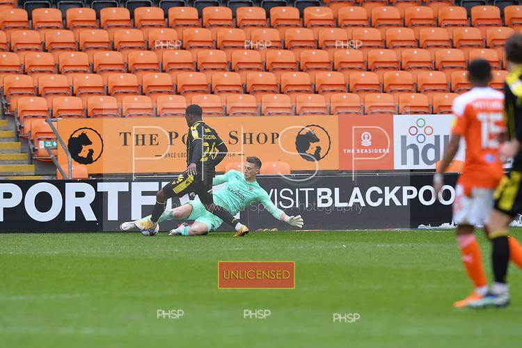09/05/2021 Sky Bet League 1 Blackpool v Bristol Rovers  <br /> <br /> Stuart Moore clears under pressure from David Tutonda