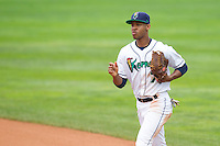 Cedar Rapids Kernels outfielder Byron Buxton #7 looks on during a game against the Kane County Cougars at Veterans Memorial Stadium on June 9, 2013 in Cedar Rapids, Iowa. (Brace Hemmelgarn/Four Seam Images)