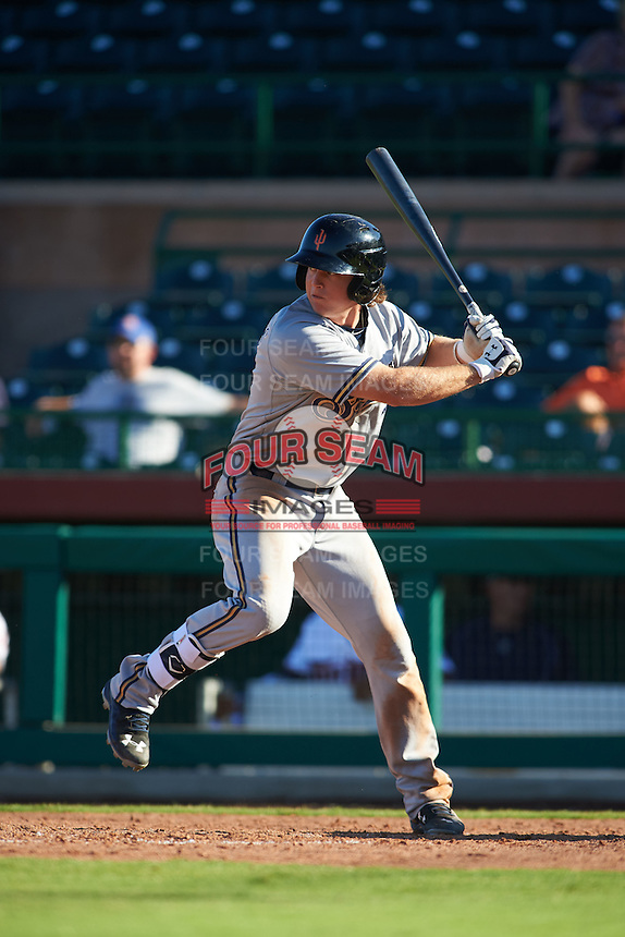 Surprise Saguaros outfielder Brett Phillips (7) at bat during an Arizona Fall League game against the Scottsdale Scorpions on October 22, 2015 at Scottsdale Stadium in Scottsdale, Arizona.  Surprise defeated Scottsdale 7-6.  (Mike Janes/Four Seam Images)