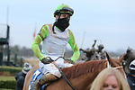 January 23, 2021: Jockey Joseph Rocco, Jr. in the winners circle after the running of the Pippin Stakes at Oaklawn Racing Casino Resort in Hot Springs, Arkansas. ©Justin Manning/Eclipse Sportswire/CSM