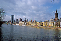 Frankfurt: Wide-angle view from Alte Brucke, looking west. Dom on right, Banking Quarter on left. Photo '87.