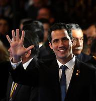 BOGOTÁ – COLOMBIA, 24-02-2019: Juan Guaidó, Presidente interino de Venezuela, durante la 11ª reunión de Ministros de Relaciones Exteriores del Grupo de Lima en Bogotá, Colombia. El grupo de 14 miembros de Lima, que incluye a la mayoría de los paises latinoamericanos. Es la primera reunión en la que Venezuela participará como miembro del grupo de Lima, representado por el presidente interino Juan Guaido. / Juan Guaido, President interim of Venezuela, during the 11th Lima Group Foreign Ministers meeting in Bogota, Colombia. The 14-member Lima Group, which includes most Latin American. It is first meeting in which Venezuela will participate as a member of the Lima group, represented by the president interim Juan Guaido. Photo: VizzorImage / Luis Ramírez / Staff.