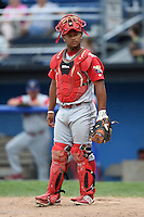 Williamsport Crosscutters catcher Wilson Garcia (25) during a game against the Batavia Muckdogs on July 27, 2014 at Dwyer Stadium in Batavia, New York.  Batavia defeated Williamsport 6-5.  (Mike Janes/Four Seam Images)