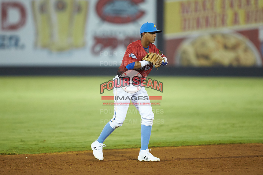 South Division shortstop Aramis Ademan (12) of the Myrtle Beach Pelicans on defense during the 2018 Carolina League All-Star Classic at Five County Stadium on June 19, 2018 in Zebulon, North Carolina. The South All-Stars defeated the North All-Stars 7-6.  (Brian Westerholt/Four Seam Images)