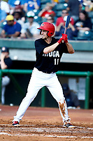 Ryan Walker (11) of the Chattanooga Lookouts waits for the pitch from the Mobile BayBears on June 3, 2018 at AT&T Field in Chattanooga, Tennessee. (Andy Mitchell/Four Seam Images)