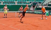 "Austria, Kitzbuhel, Juli 15, 2015, Tennis, Davis Cup, Training Dutch team play ""touch"" on the end of their practise ltr: Robin Haase, Jesse Huta Galung, Thiemo de Bakker and captain Jan Siemerink<br /> Photo: Tennisimages/Henk Koster"