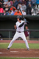 Idaho Falls Chukars left fielder Hunter Strong (3) at bat during a Pioneer League game against the Billings Mustangs at Melaleuca Field on August 22, 2018 in Idaho Falls, Idaho. The Idaho Falls Chukars defeated the Billings Mustangs by a score of 5-3. (Zachary Lucy/Four Seam Images)