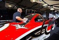 Jul 30, 2017; Sonoma, CA, USA; Crew member for NHRA funny car driver Jonnie Lindberg during the Sonoma Nationals at Sonoma Raceway. Mandatory Credit: Mark J. Rebilas-USA TODAY Sports