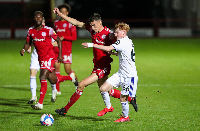Leeds United U21's Owen Bray battles with Accrington Stanley's Ross Sykes<br /> <br /> Photographer Alex Dodd/CameraSport<br /> <br /> EFL Trophy Northern Section Group G - Accrington Stanley v Leeds United U21 - Tuesday 8th September 2020 - Crown Ground - Accrington<br />  <br /> World Copyright © 2020 CameraSport. All rights reserved. 43 Linden Ave. Countesthorpe. Leicester. England. LE8 5PG - Tel: +44 (0) 116 277 4147 - admin@camerasport.com - www.camerasport.com