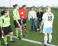 Coin toss ceremony before a WPS match between the Washington Freedom and the Chicago Red Stars at Maryland Soccerplex on April 11 2009, in Boyd's, Maryland.  The game ended in a 1-1 tie.
