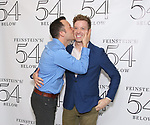 John Tartaglia and Barrett Foa backstage at the 'Avenue Q' 15th Anniversary Reunion Concert at Feinstein's/54 Below on July 30, 2018 in New York City.