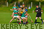 Referee Mike Joy throws in the ball with his new style gloves in the Crotta O'Neills v Abbeydorney game in the 1st round of the North Kerry Hurling Championship.