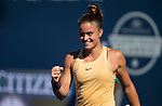 August 2, 2019: Maria Sakkari (GRE) reacts after winning her match when she defeated Elina Svitolina (UKR) 1-6, 7-6, 6-3 in the quarterfinals of the Mubadala Silicon Valley Classic at San Jose State in San Jose, California. ©Mal Taam/TennisClix/CSM