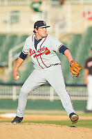 Rome Braves relief pitcher Tyler Brosius (40) in action against the Kannapolis Intimidators at CMC-Northeast Stadium on August 25, 2013 in Kannapolis, North Carolina.  The Intimidators defeated the Braves 9-0.  (Brian Westerholt/Four Seam Images)