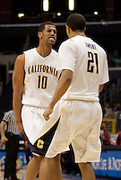 Jamal Boykin celebrates with Omondi Amoke. The Washington Huskies defeated the California Golden Bears 79-75 during the championship game of the Pacific Life Pac-10 Conference Tournament at Staples Center in Los Angeles, California on March 13th, 2010.
