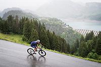 Jonas Rickaert (BEL/Alpecin Fenix) descending the Col du Pré (HC/1748m) towards the Barrage de Roselend in, yet again, grim conditions.<br /> <br /> Stage 9 from Cluses to Tignes (145km)<br /> 108th Tour de France 2021 (2.UWT)<br /> <br /> ©kramon