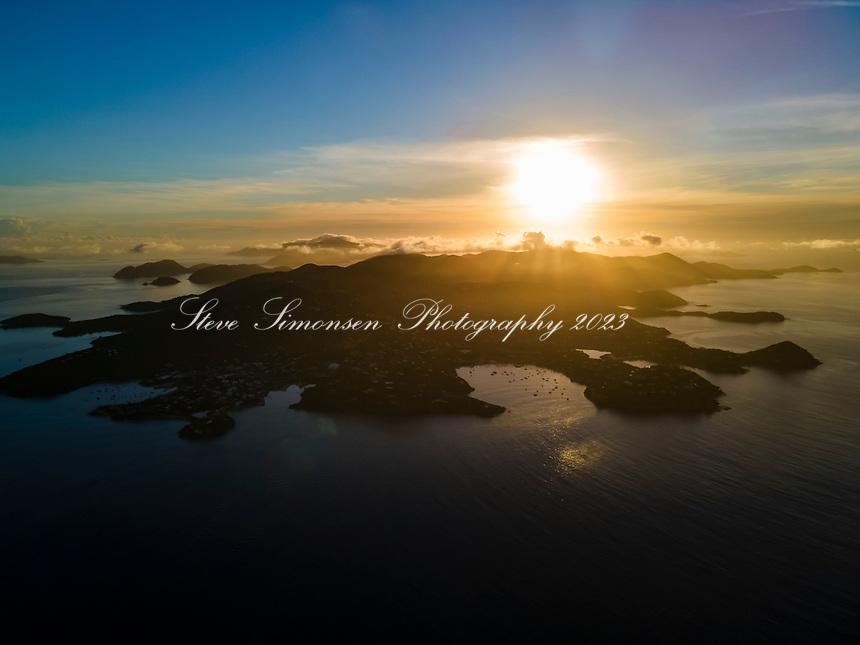 Aerial view at sunrise of St. John<br /> Virgin Islands
