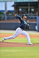 Asheville Tourists starting pitcher Jose Bravo (16) delivers a pitch during a game against the Greenville Drive on May 22, 2021 at McCormick Field in Asheville, NC. (Tony Farlow/Four Seam Images)