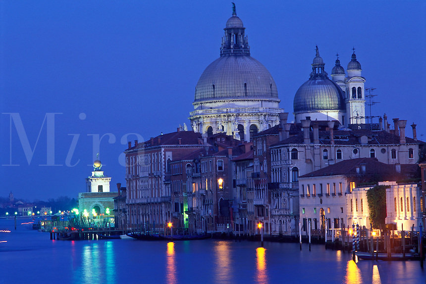 Italy, Venice, The Grand Canal and Santa Maria della Salute at dusk