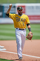 Michael Stefanic (5) of the Salt Lake Bees during the game against the Las Vegas Aviators at Smith's Ballpark on June 27, 2021 in Salt Lake City, Utah. The Aviators defeated the Bees 5-3. (Stephen Smith/Four Seam Images)