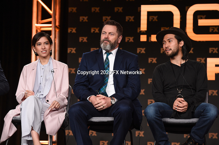 """PASADENA, CA - JANUARY 9: (L-R) Cast members Sonoya Mizuno, Nick Offerman, and Jin Ha attend the panel for """"Devs"""" during the FX Networks presentation at the 2020 TCA Winter Press Tour at the Langham Huntington on January 9, 2020 in Pasadena, California. (Photo by Frank Micelotta/FX Networks/PictureGroup)"""