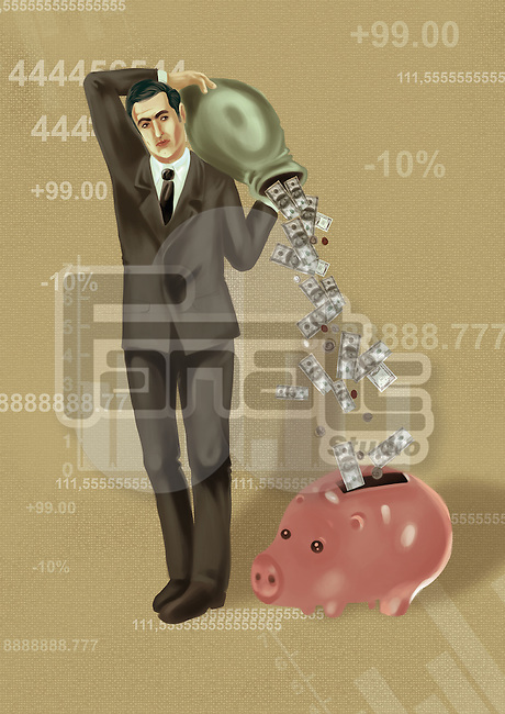 Illustrative image of businessman dropping money in piggy bank
