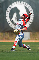 Ball State Cardinals left fielder Roman Baisa (3) during practice before a game against the Villanova Wildcats on March 3, 2017 at North Charlotte Regional Park in Port Charlotte, Florida.  Ball State defeated Villanova 3-1.  (Mike Janes/Four Seam Images)