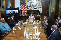 U.S. Vice President Kamala Harris speaks while meeting with disabilities advocates in the Vice President's Ceremonial Office in Washington, D.C., U.S., on Wednesday, July 14, 2021. Harris yesterday met with Texas House Democrats after they fled Austin to forestall passage there of a law that would put new voting restrictions in place.<br /> CAP/MPI/RS<br /> ©RS/MPI/Capital Pictures