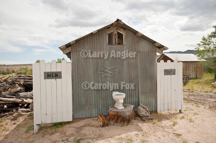Roadside outhouse, men & women, Benton Hot Springs, Calif.
