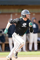 Cameron MacIntosh (8) of the University of South Carolina Upstate Spartans bats in the Green and Black Fall World Series Game 2 on Saturday, October 31, 2020, at Cleveland S. Harley Park in Spartanburg, South Carolina. Green won, 6-5. (Tom Priddy/Four Seam Images)