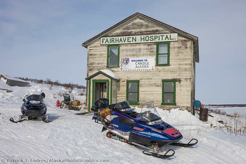 Historic buildings in the ghost town of Candle, Alaska, the halfway checkpoint for the 2008 All Alaska Sweepstakes sled dog race.
