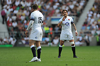 Danny Cipriani of England talks to Elliot Daly of England during the Quilter Cup match between England and Barbarians at Twickenham Stadium on Sunday 27th May 2018 (Photo by Rob Munro/Stewart Communications)