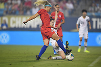 CHARLOTTE, NC - OCTOBER 03: Julie Ertz #8 of the United States battles for a ball during their game versus Korea Republic at Bank of American Stadium, on October 03, 2019 in Charlotte, NC.