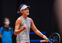 Den Bosch, The Netherlands, April 16, 2021,    Maaspoort, Billy Jean King Cup  Netherlands -  China , seccond Match:  Xiyu Wang (CHN) jubilates, she defeats Arantxa Rus and equals the score 1-1<br /> Photo: Tennisimages/Henk Koster