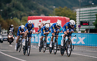 Team Quickstep Floors rolling in victoriously<br /> <br /> UCI MEN'S TEAM TIME TRIAL<br /> Ötztal to Innsbruck: 62.8 km<br /> <br /> UCI 2018 Road World Championships<br /> Innsbruck - Tirol / Austria