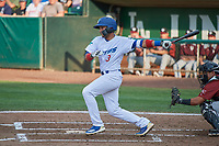 Ramon Rodriguez (3) of the Ogden Raptors bats against the Idaho Falls Chukars at Lindquist Field on July 2, 2018 in Ogden, Utah. The Raptors defeated the Chukars 11-7. (Stephen Smith/Four Seam Images)