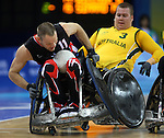 Fabien Lavoie of Quebec City is rammed by Ryley Batt of Australia in Canada's 41 - 40 loss to Australia in wheelchair rugby semi-final action in Beijing during the Paralympic Games, Monday, Sept., 15, 2008.   Photo by Mike Ridewood/CPC