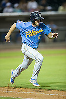 Mark Zagunis (6) of the Myrtle Beach Pelicans hustles down the first base line against the Winston-Salem Dash at BB&T Ballpark on August 20, 2015 in Winston-Salem, North Carolina.  The Dash defeated the Pelicans 5-4 on a walk-off wild pitch in the bottom of the 9th inning.  (Brian Westerholt/Four Seam Images)