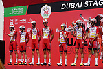 Cofidis at sign on before the start of Stage 6 of the 2021 UAE Tour running 165km from Deira Island to Palm Jumeirah, Dubai, UAE. 26th February 2021.  <br /> Picture: Eoin Clarke   Cyclefile<br /> <br /> All photos usage must carry mandatory copyright credit (© Cyclefile   Eoin Clarke)