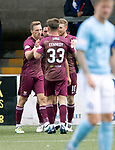 Forfar v St Johnstone…28.07.18…  Station Park    Betfred Cup<br />David McMillan celebrates his goal with Drey Wright, David Wotherspoon and Matty Kennedy<br />Picture by Graeme Hart. <br />Copyright Perthshire Picture Agency<br />Tel: 01738 623350  Mobile: 07990 594431