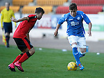 St Johnstone v Rangers...29.09.15   SPFL Development League  McDiarmid Park, Perth<br /> Craig Thomson is closed down by Jamie Brandon<br /> Picture by Graeme Hart.<br /> Copyright Perthshire Picture Agency<br /> Tel: 01738 623350  Mobile: 07990 594431