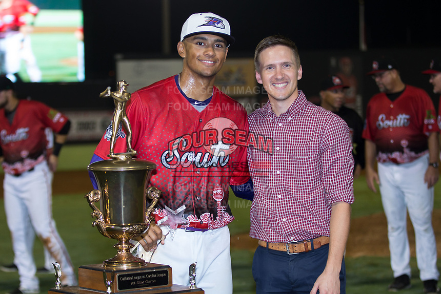 Joel Booker (2) of the Winston-Salem Dash was named the Most Valuable Player in the 2018 Carolina League All-Star Classic at Five County Stadium on June 19, 2018 in Zebulon, North Carolina. The South All-Stars defeated the North All-Stars 7-6.  (Brian Westerholt/Four Seam Images)