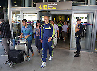 Wednesday 18 September 2013<br /> Pictured: Jonjo Shelvey arrives at Valencia Airport.<br /> Re: Swansea City FC players and staff travelling to Spain for their UEFA Europa League game against Valencia.
