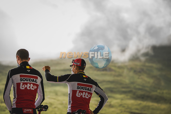 Philippe Gilbert (BEL) and Lotto-Soudal at sign on before Stage 16 of the 2021 Tour de France, running 169km from Pas de la Case to Saint-Gaudens, France. 13th July 2021.  <br /> Picture: A.S.O./Pauline Ballet | Cyclefile<br /> <br /> All photos usage must carry mandatory copyright credit (© Cyclefile | A.S.O./Pauline Ballet)