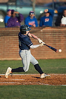 Konni Durschlag (16) of the Mallard Creek Mavericks makes contact with the baseball during the game against the Glenn Bobcats at Dale Ijames Stadium on March 22, 2017 in Kernersville, North Carolina.  The Bobcats defeated the Mavericks 12-2 in 5 innings.  (Brian Westerholt/Four Seam Images)