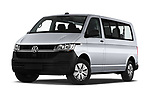 Stock pictures of low aggressive front three quarter view of 2020 Volkswagen Transporter - 4 Door Passenger Van Low Aggressive