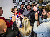 Bratislava, Slovenia, April 21, 2017,  FedCup: Slovakia-Netherlands, Draw ceremony, interview with Rebecca Sramkova (SVK)<br /> Photo: Tennisimages/Henk Koster
