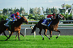 I'm Boundtoscore, with jockey Sarah Rook runs to victory at Woodbine Race Course in Ontario, Canada on September 15, 2012.