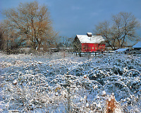Morning light on barn in field with light dusting of snow in Multnomah County, Oregon